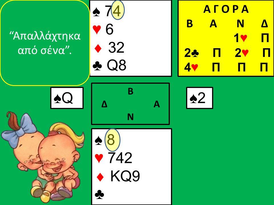 ♠ 8 ♥ 742  KQ9 ♣ ♠ 74 ♥ 6  32 ♣ Q8 ♠Q♠Q Β Δ Α Ν ♠2 Απαλλάχτηκα από σένα .