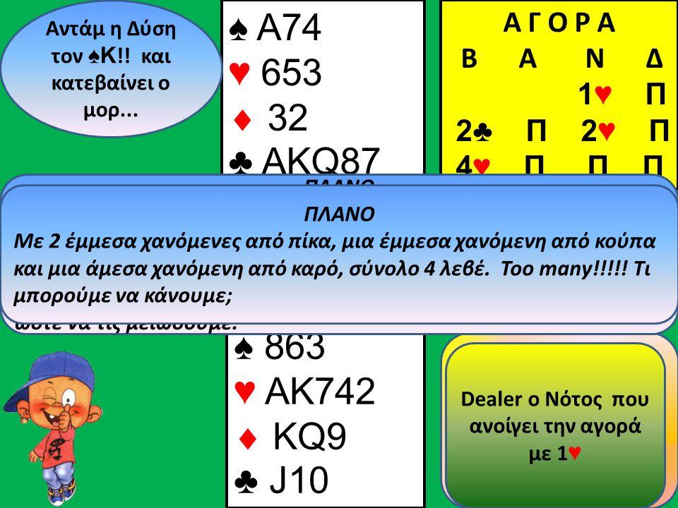 ♠ A74 ♥ 653  32 ♣ AKQ87 Β Δ Α Ν Αντάμ η Δύση τον ♠ Κ !.