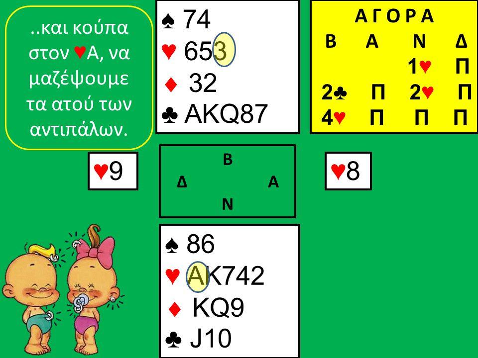 ♠ 86 ♥ AK742  KQ9 ♣ J10 ♠ 74 ♥ 653  32 ♣ AKQ87 ♥9♥9 Β Δ Α Ν ♥8♥8..και κούπα στον ♥ Α, να μαζέψουμε τα ατού των αντιπάλων.