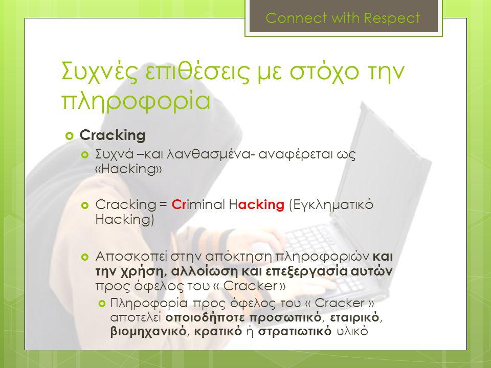Συχνές επιθέσεις με στόχο την πληροφορία  Cracking  Συχνά –και λανθασμένα- αναφέρεται ως «Hacking»  Cracking = Cr iminal H acking (Εγκληματικό Hack