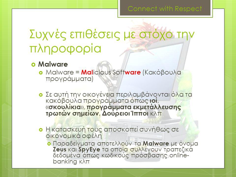 Συχνές επιθέσεις με στόχο την πληροφορία  Malware  Malware = Mal icious Soft ware (Κακόβουλα προγράμματα)  Σε αυτή την οικογένεια περιλαμβάνονται ό