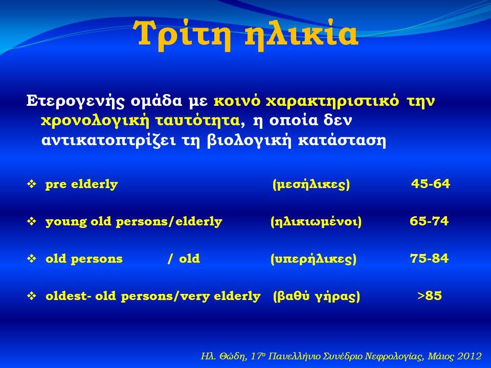 Τρίτη ηλικία Ετερογενής ομάδα με κοινό χαρακτηριστικό την χρονολογική ταυτότητα, η οποία δεν αντικατοπτρίζει τη βιολογική κατάσταση  pre elderly (μεσήλικες) 45-64  young old persons/elderly (ηλικιωμένοι) 65-74  old persons / old (υπερήλικες) 75-84  oldest- old persons/very elderly (βαθύ γήρας) >85 Ηλ.