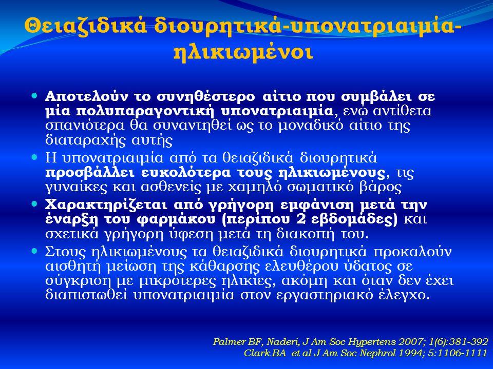 Θειαζιδικά διουρητικά-υπονατριαιμία- ηλικιωμένοι  Αποτελούν το συνηθέστερο αίτιο που συμβάλει σε μία πολυπαραγοντική υπονατριαιμία, ενώ αντίθετα σπανιότερα θα συναντηθεί ως το μοναδικό αίτιο της διαταραχής αυτής  Η υπονατριαιμία από τα θειαζιδικά διουρητικά προσβάλλει ευκολότερα τους ηλικιωμένους, τις γυναίκες και ασθενείς με χαμηλό σωματικό βάρος  Χαρακτηρίζεται από γρήγορη εμφάνιση μετά την έναρξη του φαρμάκου (περίπου 2 εβδομάδες) και σχετικά γρήγορη ύφεση μετά τη διακοπή του.