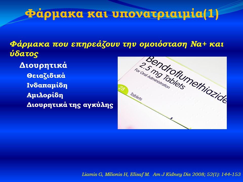 Φάρμακα και υπονατριαιμία(1) Φάρμακα που επηρεάζουν την ομοιόσταση Na+ και ύδατος Διουρητικά Θειαζιδικά Ινδαπαμίδη Αμιλορίδη Διουρητικά της αγκύλης Liamis G, Milionis H, Elisaf M.
