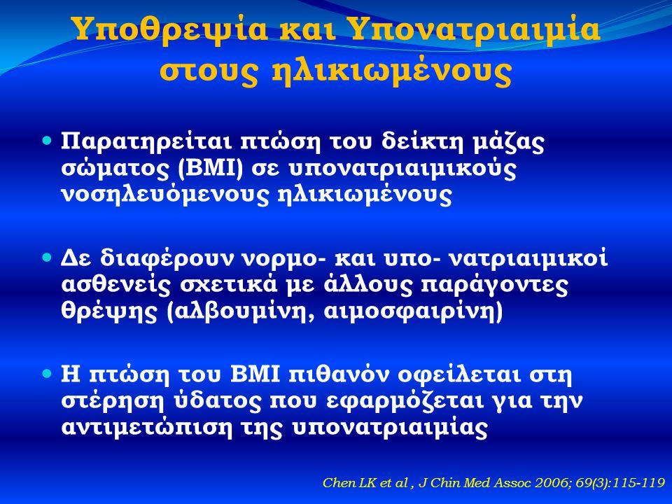 Υποθρεψία και Υπονατριαιμία στους ηλικιωμένους  Παρατηρείται πτώση του δείκτη μάζας σώματος (BMI) σε υπονατριαιμικούς νοσηλευόμενους ηλικιωμένους  Δε διαφέρουν νορμο- και υπο- νατριαιμικοί ασθενείς σχετικά με άλλους παράγοντες θρέψης (αλβουμίνη, αιμοσφαιρίνη)  Η πτώση του BMI πιθανόν οφείλεται στη στέρηση ύδατος που εφαρμόζεται για την αντιμετώπιση της υπονατριαιμίας Chen LK et al, J Chin Med Assoc 2006; 69(3):115-119