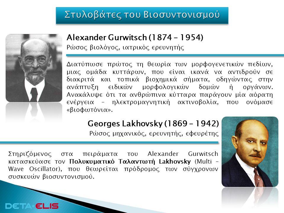 Ρώσος μηχανικός, ερευνητής, εφευρέτης Georges Lakhovsky (1869 – 1942) Στηριζόμενος στα πειράματα του Alexander Gurwitsch κατασκεύασε τον Πολυκυματικό