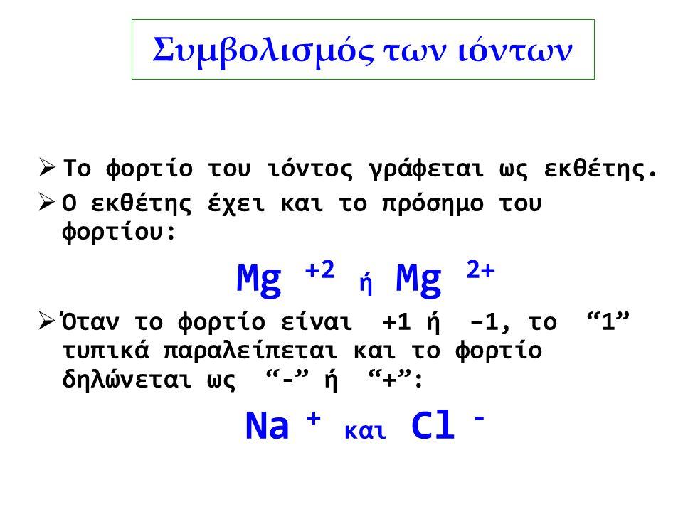 Συμβολισμός των ιόντων  Το φορτίο του ιόντος γράφεται ως εκθέτης.  Ο εκθέτης έχει και το πρόσημο του φορτίου: Mg +2 ή Mg 2+  Όταν το φορτίο είναι +