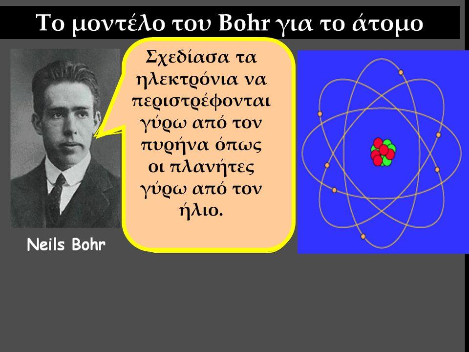 Το μοντέλο του Bohr για το άτομο Σχεδίασα τα ηλεκτρόνια να περιστρέφονται γύρω από τον πυρήνα όπως οι πλανήτες γύρω από τον ήλιο. ΛΑΘΟΣ;