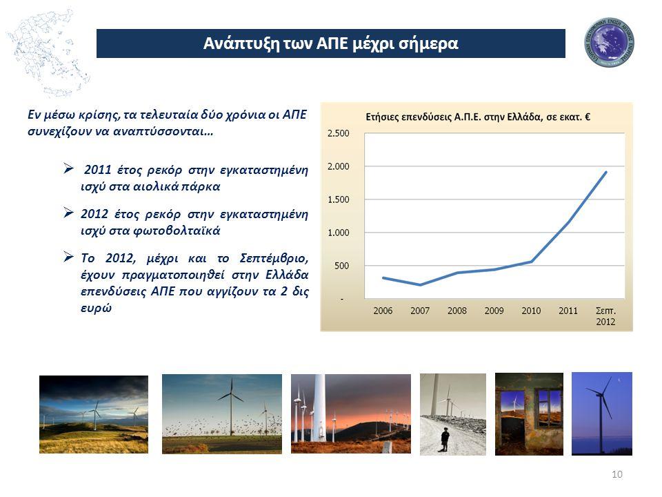 Ανάπτυξη των ΑΠΕ μέχρι σήμερα Εν μέσω κρίσης, τα τελευταία δύο χρόνια οι ΑΠΕ συνεχίζουν να αναπτύσσονται…  2011 έτος ρεκόρ στην εγκαταστημένη ισχύ στα αιολικά πάρκα  2012 έτος ρεκόρ στην εγκαταστημένη ισχύ στα φωτοβολταϊκά  Το 2012, μέχρι και το Σεπτέμβριο, έχουν πραγματοποιηθεί στην Ελλάδα επενδύσεις ΑΠΕ που αγγίζουν τα 2 δις ευρώ 10