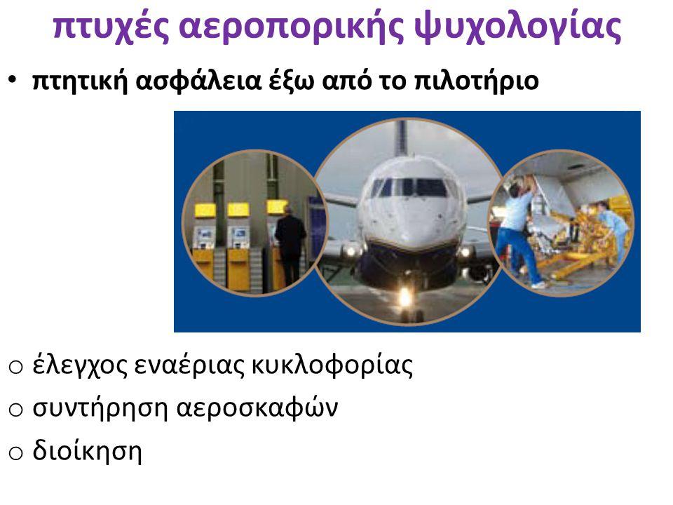 • πτητική ασφάλεια έξω από το πιλοτήριο πτυχές αεροπορικής ψυχολογίας o έλεγχος εναέριας κυκλοφορίας o συντήρηση αεροσκαφών o διοίκηση