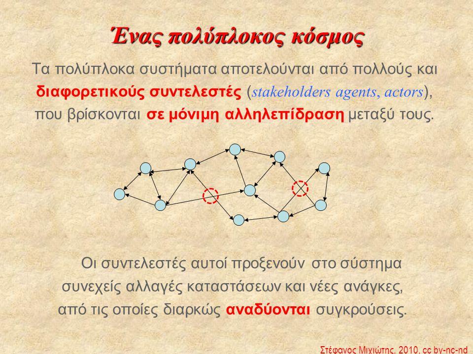 Ένας πολύπλοκος κόσμος Τα πολύπλοκα συστήματα αποτελούνται από πολλούς και διαφορετικούς συντελεστές ( stakeholders agents, actors ), που βρίσκονται σ