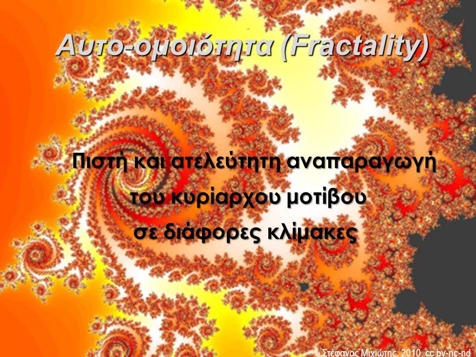 Πιστή και ατελεύτητη αναπαραγωγή του κυρίαρχου μοτίβου του κυρίαρχου μοτίβου σε διάφορες κλίμακες Αυτο-ομοιότητα (Fractality) Αυτο-ομοιότητα (Fractali