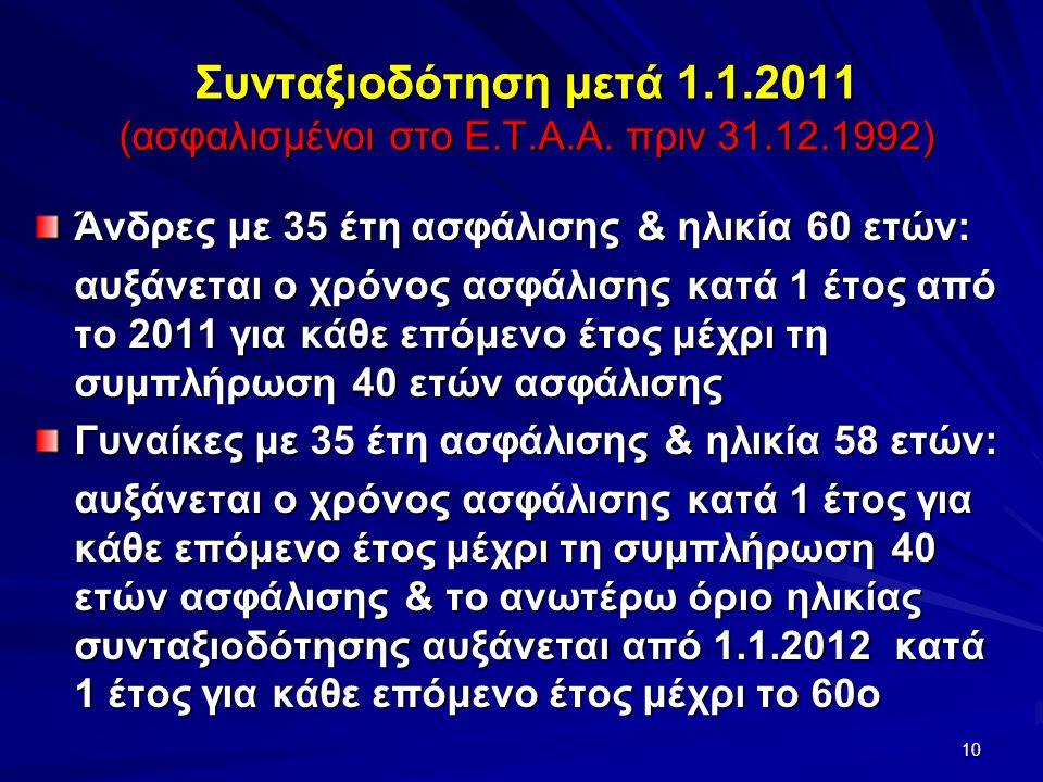 Συνταξιοδότηση μετά 1.1.2011 (ασφαλισμένοι στο Ε.Τ.Α.Α.