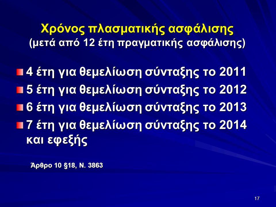 Χρόνος πλασματικής ασφάλισης (μετά από 12 έτη πραγματικής ασφάλισης) 4 έτη για θεμελίωση σύνταξης το 2011 5 έτη για θεμελίωση σύνταξης το 2012 6 έτη για θεμελίωση σύνταξης το 2013 7 έτη για θεμελίωση σύνταξης το 2014 και εφεξής 17 Άρθρο 10 §18, Ν.