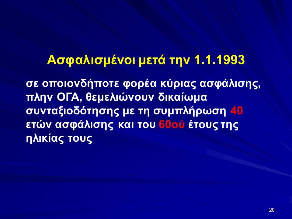 20 Ασφαλισμένοι μετά την 1.1.1993 σε οποιονδήποτε φορέα κύριας ασφάλισης, πλην ΟΓΑ, θεμελιώνουν δικαίωμα συνταξιοδότησης με τη συμπλήρωση 40 ετών ασφάλισης και του 60ού έτους της ηλικίας τους