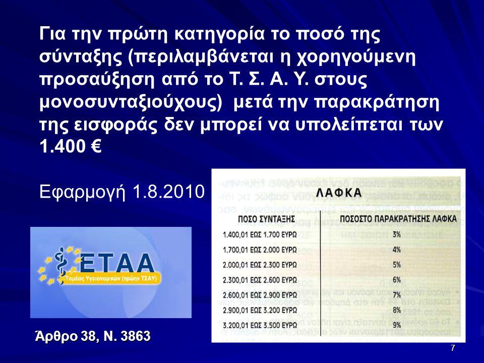 7 Για την πρώτη κατηγορία το ποσό της σύνταξης (περιλαμβάνεται η χορηγούμενη προσαύξηση από το Τ. Σ. Α. Υ. στους μονοσυνταξιούχους) μετά την παρακράτη
