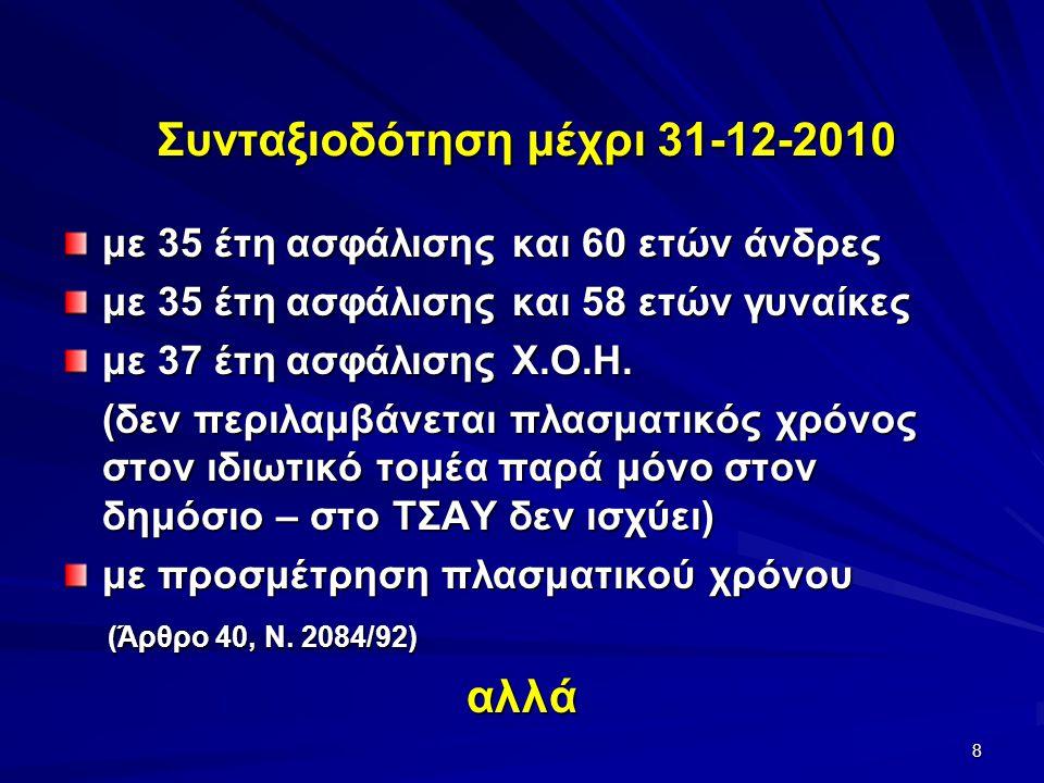 9 για να ισχύσει η προσμέτρηση πλασματικού χρόνου η υποβολή αίτησης αναγνώρισης πρέπει να γίνει μέχρι 31-12-2013 : Συνταξιοδότηση μέχρι 31-12-2010 Άρθρο 10 §18, Ν.