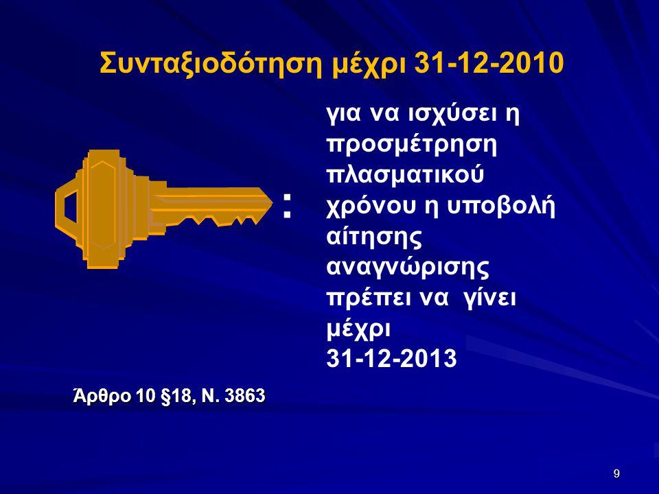 9 για να ισχύσει η προσμέτρηση πλασματικού χρόνου η υποβολή αίτησης αναγνώρισης πρέπει να γίνει μέχρι 31-12-2013 : Συνταξιοδότηση μέχρι 31-12-2010 Άρθ