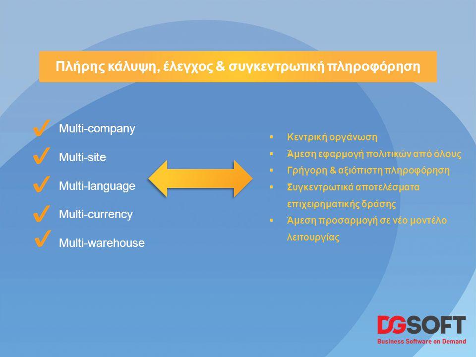 Multi-company Multi-site Multi-language Multi-currency Multi-warehouse Πλήρης κάλυψη, έλεγχος & συγκεντρωτική πληροφόρηση  Κεντρική οργάνωση  Άμεση εφαρμογή πολιτικών από όλους  Γρήγορη & αξιόπιστη πληροφόρηση  Συγκεντρωτικά αποτελέσματα επιχειρηματικής δράσης  Άμεση προσαρμογή σε νέο μοντέλο λειτουργίας
