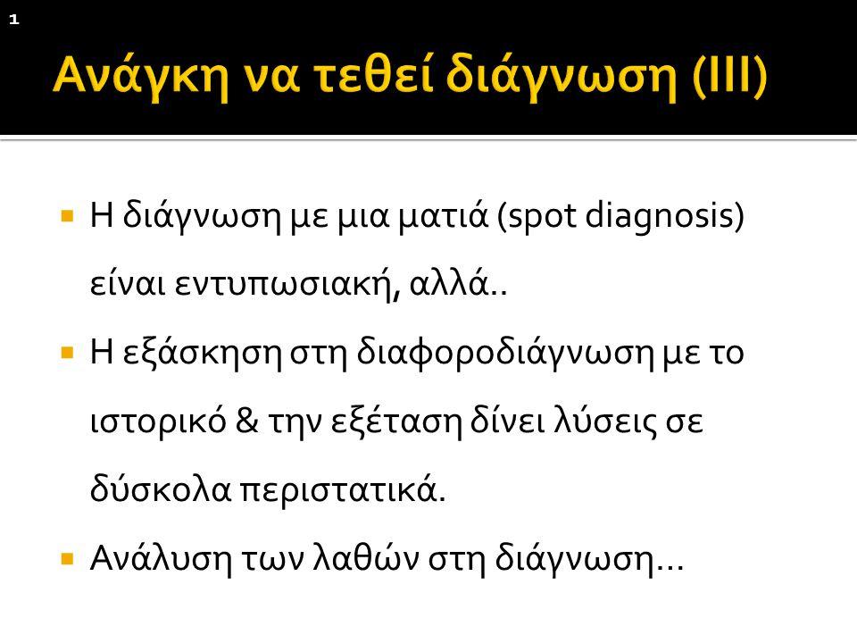  Η διάγνωση με μια ματιά (spot diagnosis) είναι εντυπωσιακή, αλλά..  Η εξάσκηση στη διαφοροδιάγνωση με το ιστορικό & την εξέταση δίνει λύσεις σε δύσ