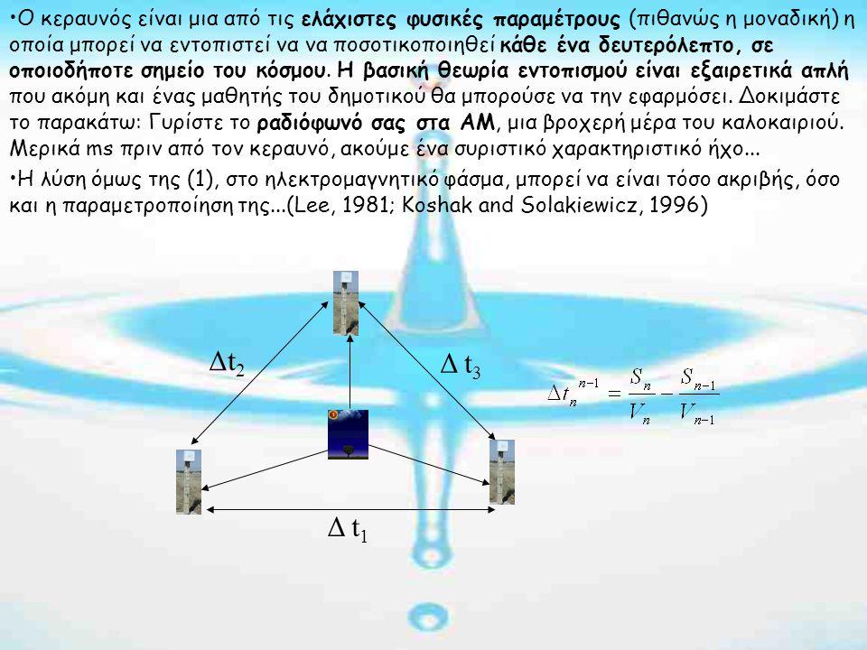 Δ t 1 Δt 2 Δ t 3 •Ο κεραυνός είναι μια από τις ελάχιστες φυσικές παραμέτρους (πιθανώς η μοναδική) η οποία μπορεί να εντοπιστεί να να ποσοτικοποιηθεί κάθε ένα δευτερόλεπτο, σε οποιοδήποτε σημείο του κόσμου.