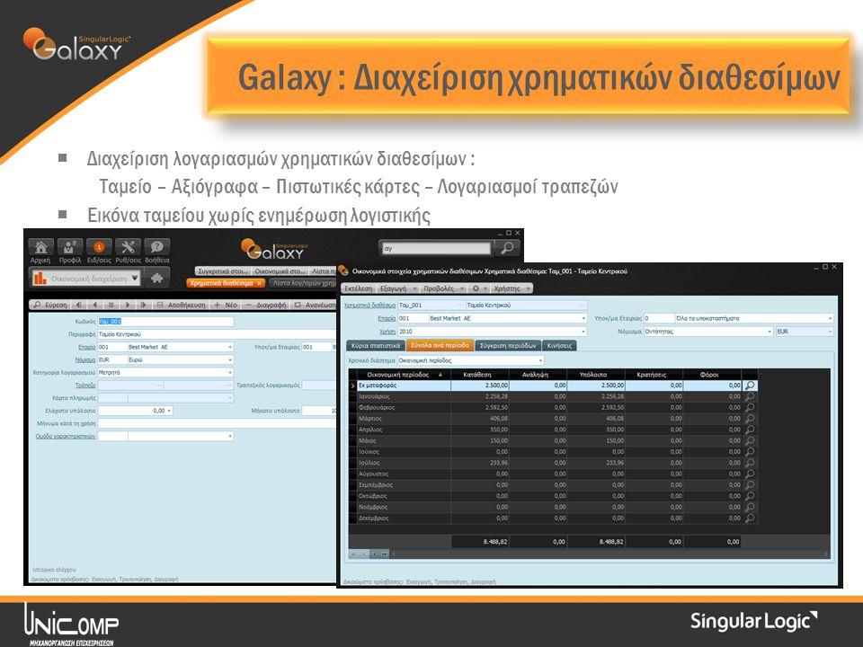 Galaxy : Διαχείριση χρηματικών διαθεσίμων  Διαχείριση λογαριασμών χρηματικών διαθεσίμων : Ταμείο – Αξιόγραφα – Πιστωτικές κάρτες – Λογαριασμοί τραπεζών  Εικόνα ταμείου χωρίς ενημέρωση λογιστικής