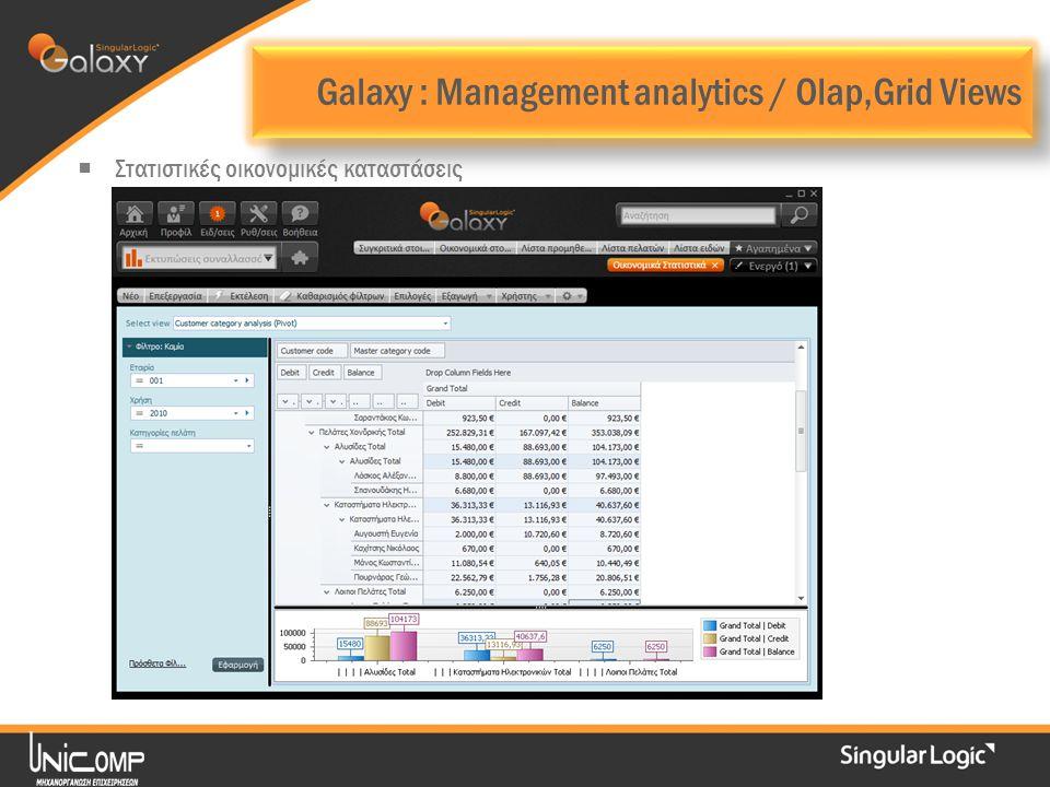 Galaxy : Management analytics / Olap,Grid Views  Στατιστικές οικονομικές καταστάσεις