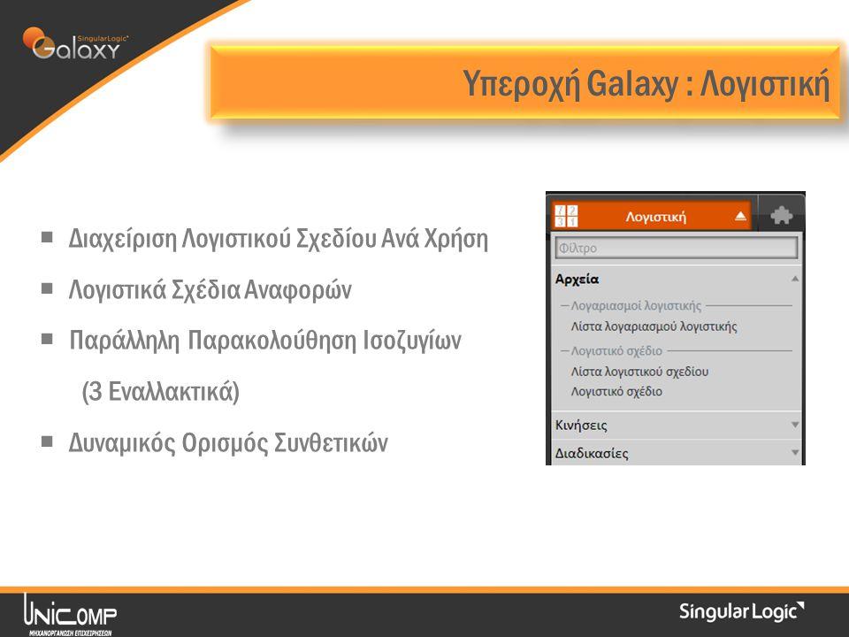  Διαχείριση Λογιστικού Σχεδίου Ανά Χρήση  Λογιστικά Σχέδια Αναφορών  Παράλληλη Παρακολούθηση Ισοζυγίων (3 Εναλλακτικά)  Δυναμικός Ορισμός Συνθετικών Υπεροχή Galaxy : Λογιστική