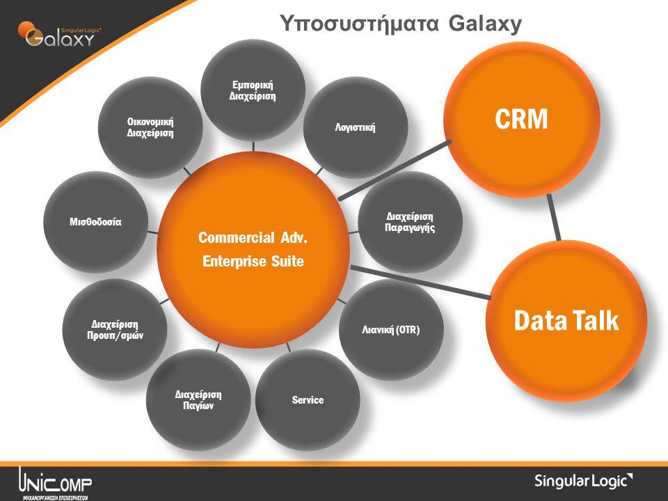 Commercial Adv. Enterprise Suite Εμπορική Διαχείριση Λογιστική Διαχείριση Παραγωγής Λιανική (OTR)Service Διαχείριση Παγίων Διαχείριση Προυπ/σμών Μισθο