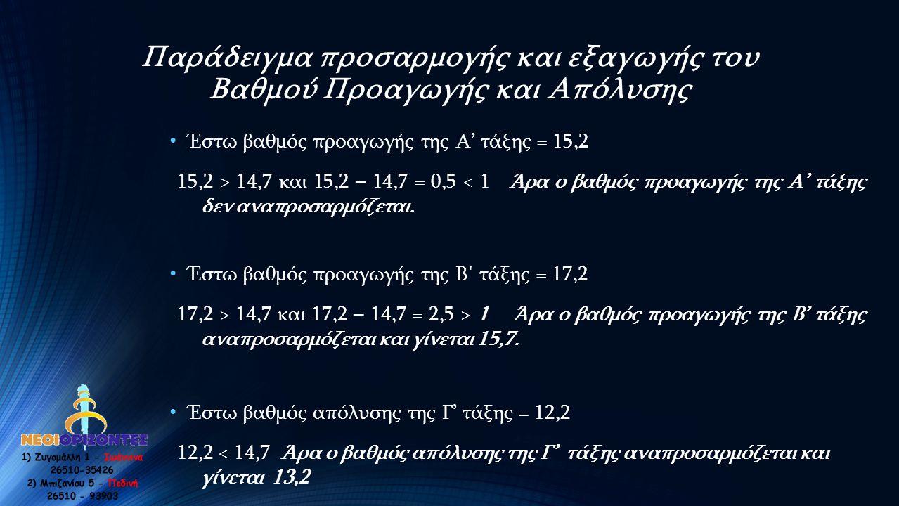Παράδειγμα προσαρμογής και εξαγωγής του Βαθμού Προαγωγής και Απόλυσης • Έστω βαθμός προαγωγής της Α' τάξης = 15,2 15,2 > 14,7 και 15,2 – 14,7 = 0,5 <