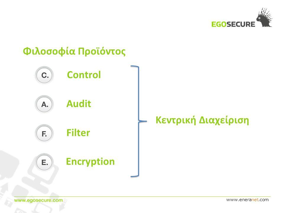 www.eneranet.com Φιλοσοφία Προϊόντος Encryption Filter Audit Κεντρική Διαχείριση Control