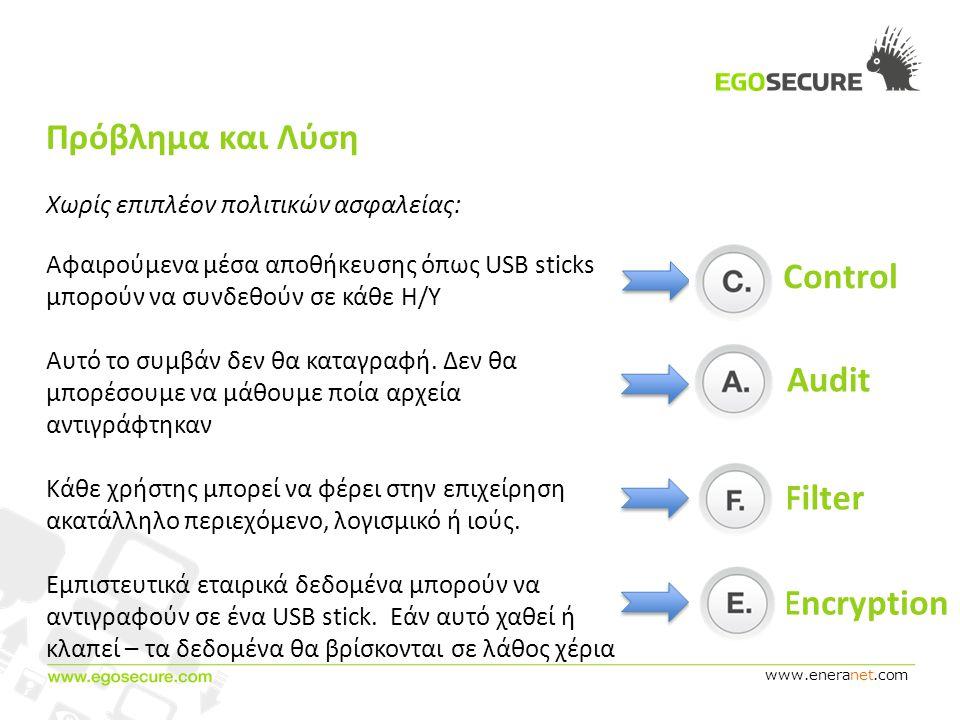 www.eneranet.com Πρόβλημα και Λύση Χωρίς επιπλέον πολιτικών ασφαλείας: Αφαιρούμενα μέσα αποθήκευσης όπως USB sticks μπορούν να συνδεθούν σε κάθε Η/Υ Αυτό το συμβάν δεν θα καταγραφή.