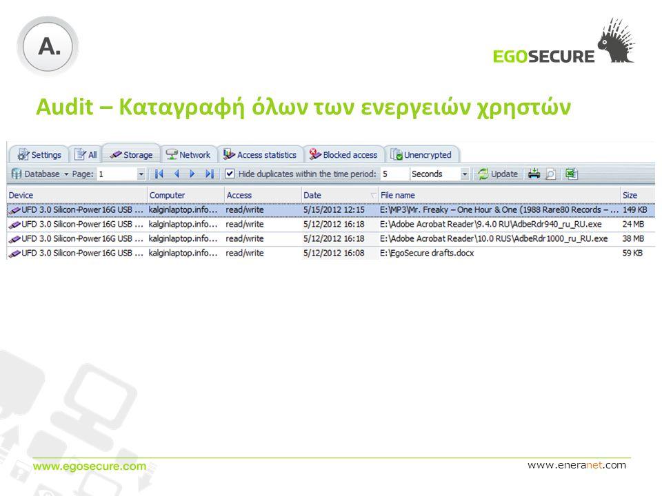 www.eneranet.com Audit – Καταγραφή όλων των ενεργειών χρηστών