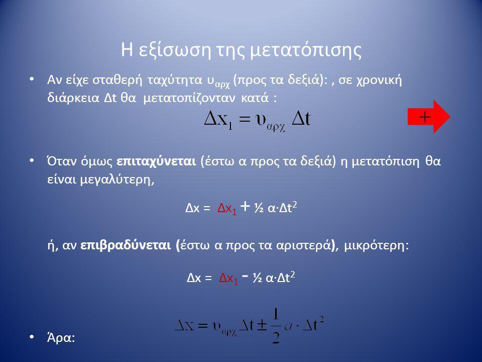 Η εξίσωση της μετατόπισης • Αν είχε σταθερή ταχύτητα υ αρχ (προς τα δεξιά):, σε χρονική διάρκεια Δt θα μετατοπίζονταν κατά : • Όταν όμως επιταχύνεται