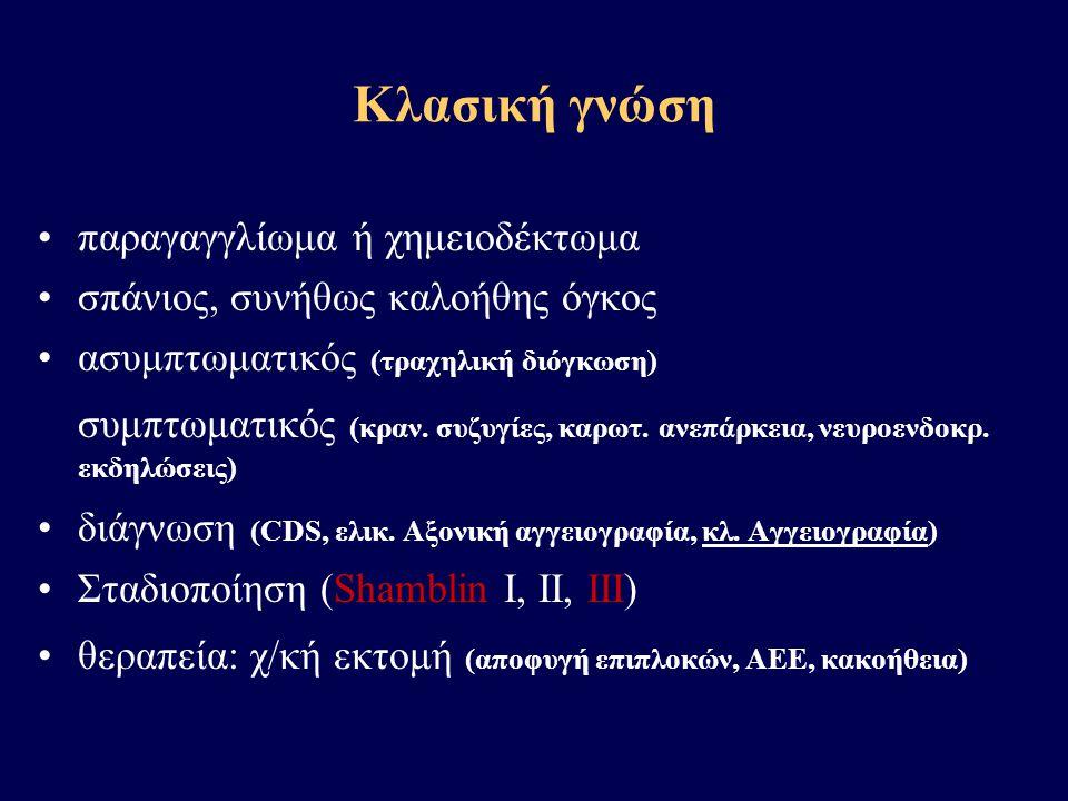 Κλασική γνώση •παραγαγγλίωμα ή χημειοδέκτωμα •σπάνιος, συνήθως καλοήθης όγκος •ασυμπτωματικός (τραχηλική διόγκωση) συμπτωματικός (κραν. συζυγίες, καρω