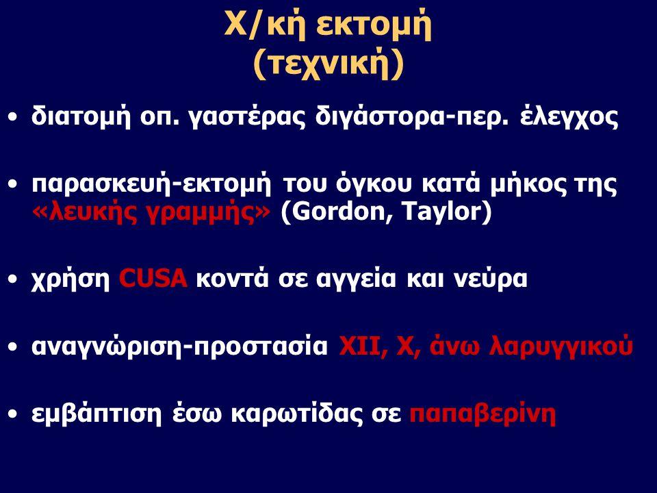 Χ/κή εκτομή (τεχνική) •διατομή οπ. γαστέρας διγάστορα-περ. έλεγχος •παρασκευή-εκτομή του όγκου κατά μήκος της «λευκής γραμμής» (Gordon, Taylor) •χρήση