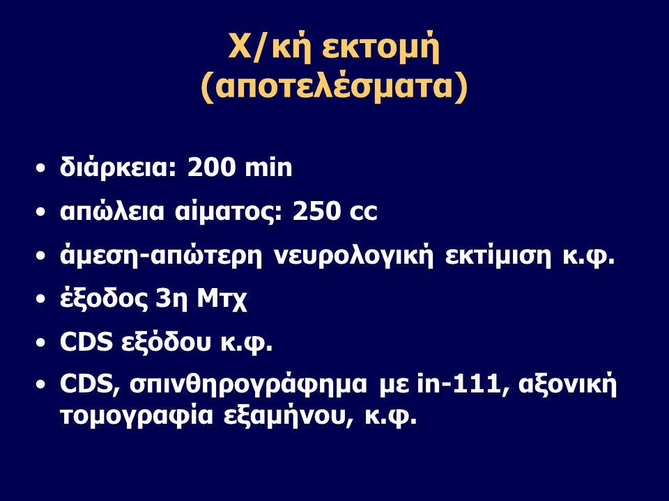 Χ/κή εκτομή (αποτελέσματα) •διάρκεια: 200 min •απώλεια αίματος: 250 cc •άμεση-απώτερη νευρολογική εκτίμιση κ.φ. •έξοδος 3η Μτχ •CDS εξόδου κ.φ. •CDS,