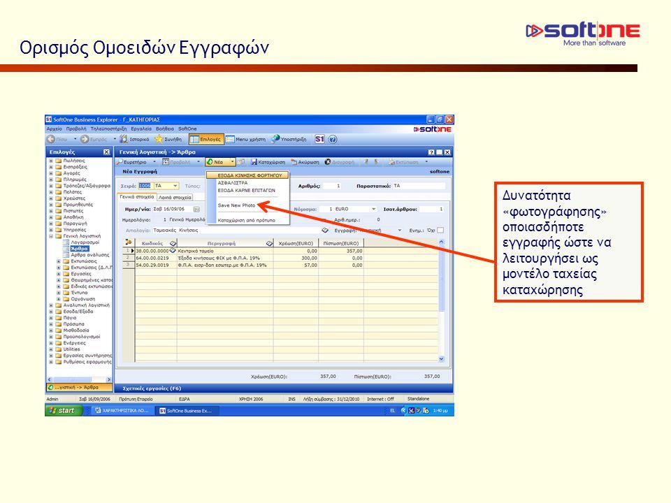 Ορισμός Ομοειδών Εγγραφών Δυνατότητα «φωτογράφησης» οποιασδήποτε εγγραφής ώστε να λειτουργήσει ως μοντέλο ταχείας καταχώρησης