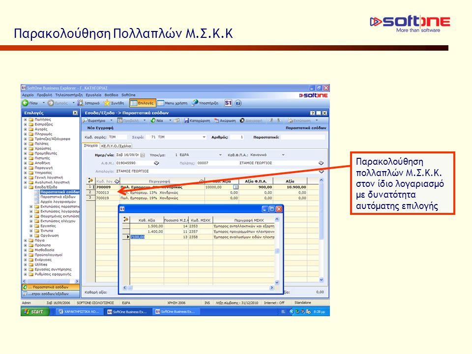 Παρακολούθηση Πολλαπλών Μ.Σ.Κ.Κ Παρακολούθηση πολλαπλών Μ.Σ.Κ.Κ. στον ίδιο λογαριασμό με δυνατότητα αυτόματης επιλογής
