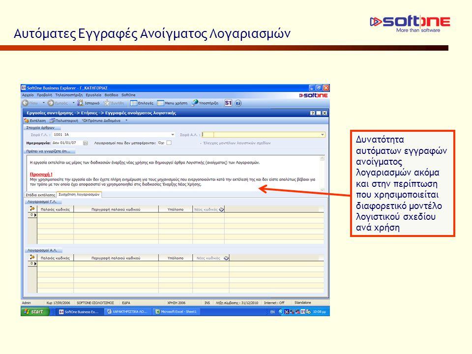 Αυτόματες Εγγραφές Ανοίγματος Λογαριασμών Δυνατότητα αυτόματων εγγραφών ανοίγματος λογαριασμών ακόμα και στην περίπτωση που χρησιμοποιείται διαφορετικό μοντέλο λογιστικού σχεδίου ανά χρήση