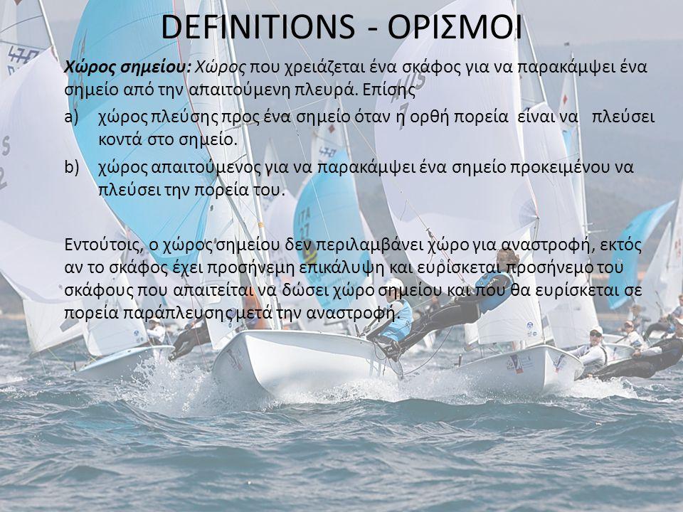 DEFINITIONS - ΟΡΙΣΜΟΙ Χώρος σημείου: Χώρος που χρειάζεται ένα σκάφος για να παρακάμψει ένα σημείο από την απαιτούμενη πλευρά.