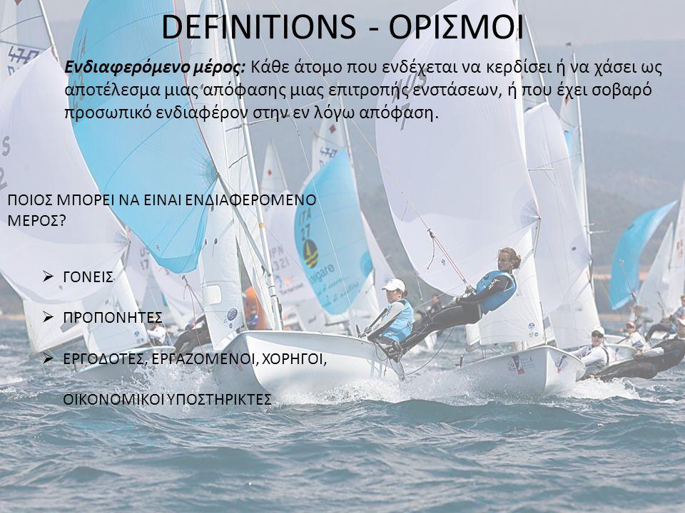 DEFINITIONS - ΟΡΙΣΜΟΙ Ενδιαφερόμενο μέρος: Κάθε άτομο που ενδέχεται να κερδίσει ή να χάσει ως αποτέλεσμα μιας απόφασης μιας επιτροπής ενστάσεων, ή που
