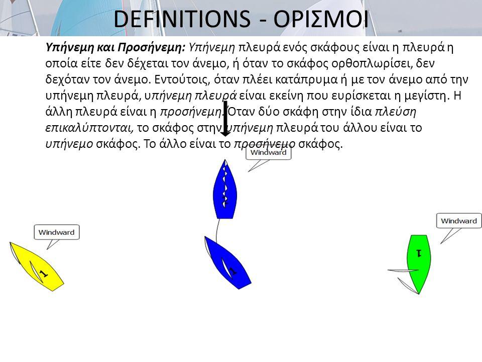 DEFINITIONS - ΟΡΙΣΜΟΙ Σημείο: Ένα αντικείμενο που οι οδηγίες πλου υποχρεώνουν ένα σκάφος να το αφήσει από μία καθορισμένη πλευρά και ένα σκάφος επιτροπής που περιβάλλεται από πλεύσιμα ύδατα από το οποίο επεκτείνεται η γραμμή εκκίνησης ή η γραμμή τερματισμού.