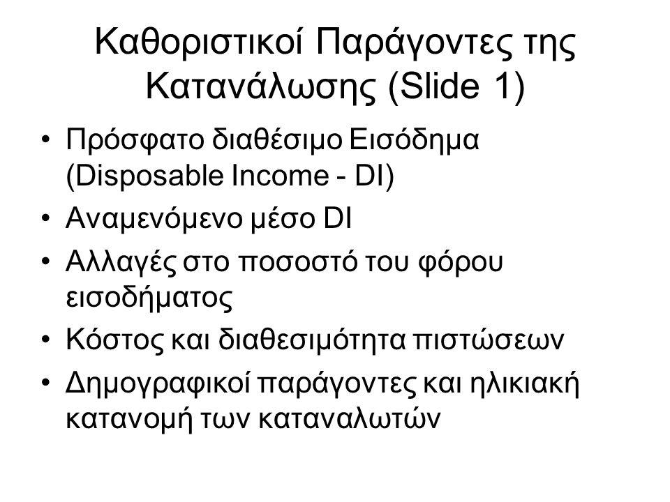Καθοριστικοί Παράγοντες της Κατανάλωσης (Slide 1) •Πρόσφατο διαθέσιμο Εισόδημα (Disposable Income - DI) •Αναμενόμενο μέσο DI •Αλλαγές στο ποσοστό του φόρου εισοδήματος •Κόστος και διαθεσιμότητα πιστώσεων •Δημογραφικοί παράγοντες και ηλικιακή κατανομή των καταναλωτών