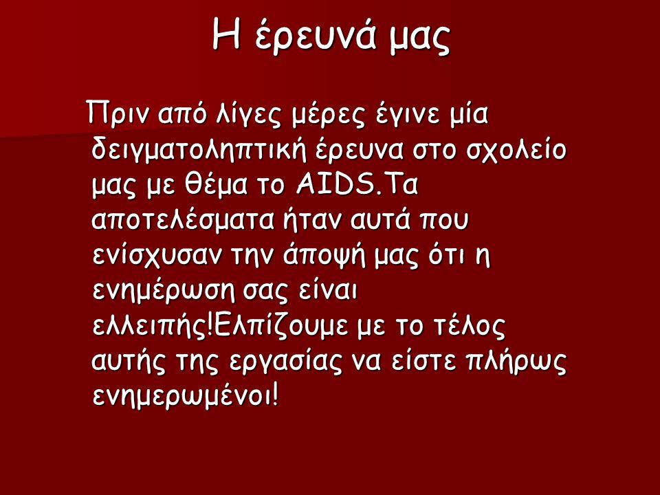 Η έρευνά μας Πριν από λίγες μέρες έγινε μία δειγματοληπτική έρευνα στο σχολείο μας με θέμα το AIDS.Τα αποτελέσματα ήταν αυτά που ενίσχυσαν την άποψή μας ότι η ενημέρωση σας είναι ελλειπής!Ελπίζουμε με το τέλος αυτής της εργασίας να είστε πλήρως ενημερωμένοι.