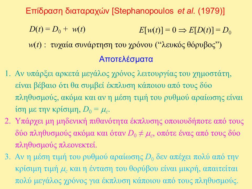 """Επίδραση διαταραχών [Stephanopoulos et al. (1979)] D(t) = D 0 + w(t) w(t) : τυχαία συνάρτηση του χρόνου (""""λευκός θόρυβος"""") E[w(t)] = 0  E[D(t)] = D 0"""