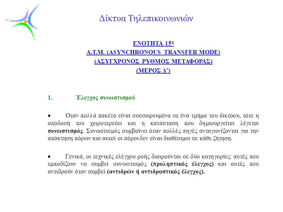 Slide 1 Δίκτυα Τηλεπικοινωνιών ENOTHTA 15 η A.T.M.
