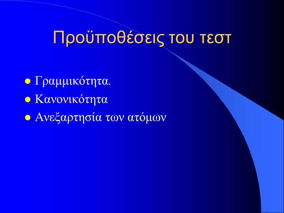 Προϋποθέσεις του τεστ l Γραμμικότητα. l Κανονικότητα l Ανεξαρτησία των ατόμων