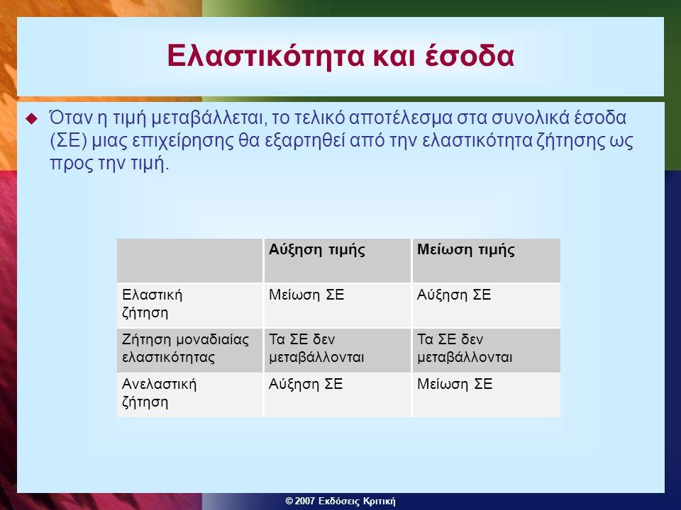 © 2007 Εκδόσεις Κριτική  Όταν η τιμή μεταβάλλεται, το τελικό αποτέλεσμα στα συνολικά έσοδα (ΣΕ) μιας επιχείρησης θα εξαρτηθεί από την ελαστικότητα ζή