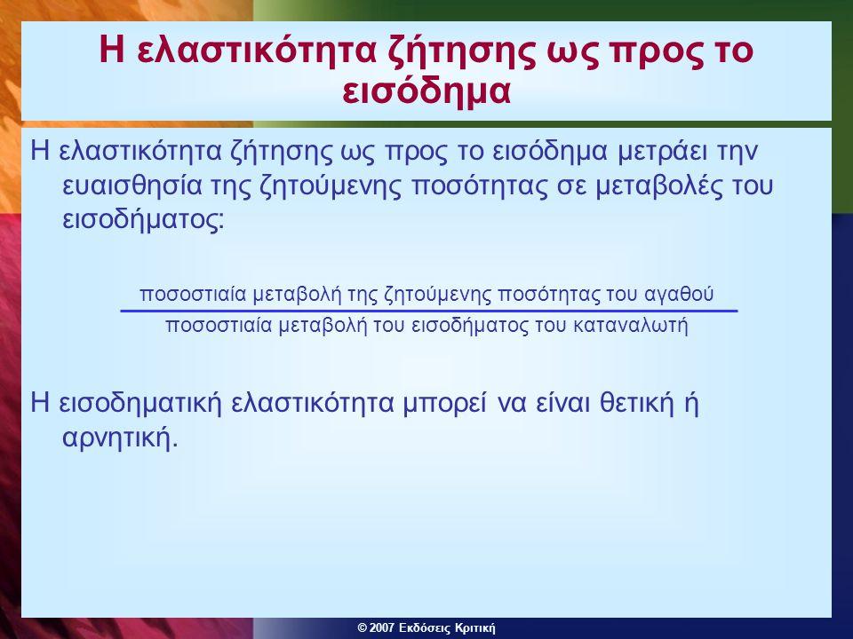 © 2007 Εκδόσεις Κριτική Η ελαστικότητα ζήτησης ως προς το εισόδημα Η ελαστικότητα ζήτησης ως προς το εισόδημα μετράει την ευαισθησία της ζητούμενης πο